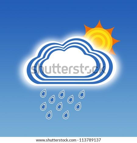 Stripe design rainy and sun, Weather set - stock photo