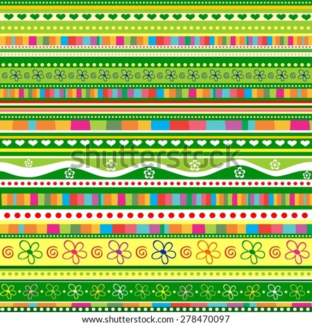 Stripe pattern. Floral background.  Illustration - stock photo