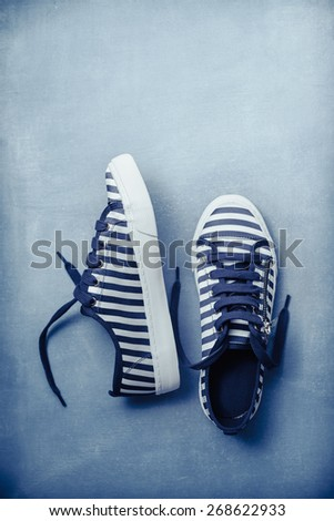 Stripe Sneaker in Blue - stock photo