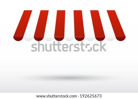 Striped awning - stock photo