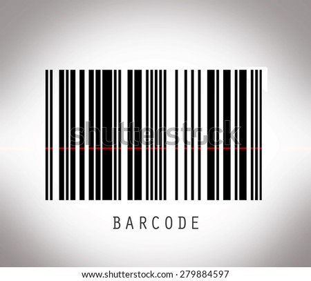 Striped barcode with laser line - stock photo