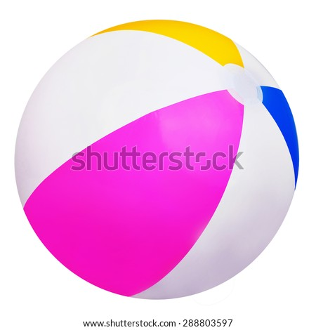 Striped beach ball isolated on white background - stock photo