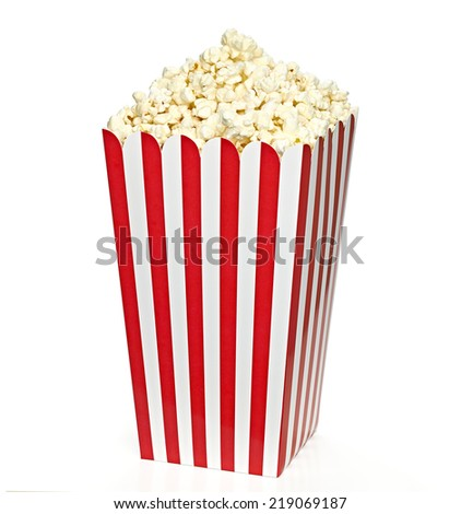 Striped Big Popcorn box including clipping path - stock photo