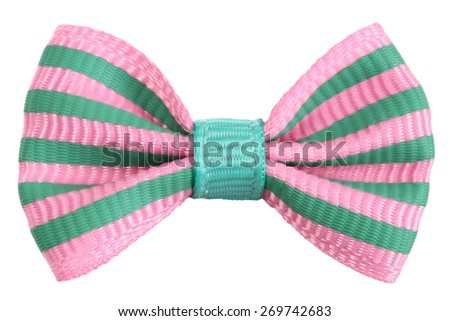 Striped bow tie pink with emerald green stripes - stock photo