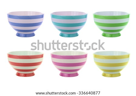 striped bowls isolated on white - stock photo