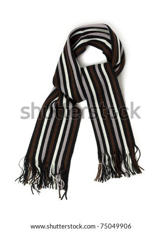 Striped knitted woollen scarf isolated on white - stock photo