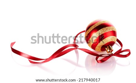 Striped New Year's ball with a red tape. New Year's ball. Christmas ball. Christmas tree decorations. Christmas jewelry. - stock photo
