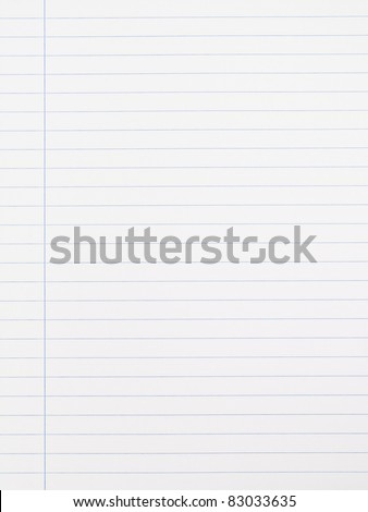 Striped notebook paper texture with left margin - stock photo
