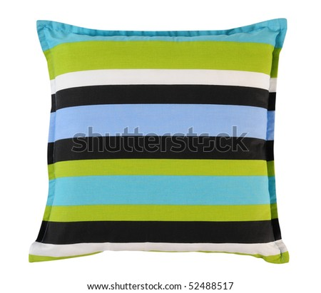 Striped pillow. Isolated - stock photo