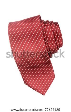 Striped red and white tie isolated on white background. - stock photo