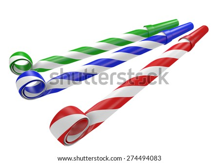 Striped red, blue, and green noisemaker party horns - stock photo