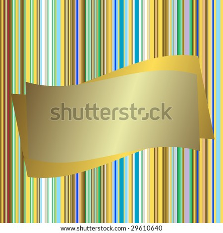 Striped seamless background with silvery banner - stock photo