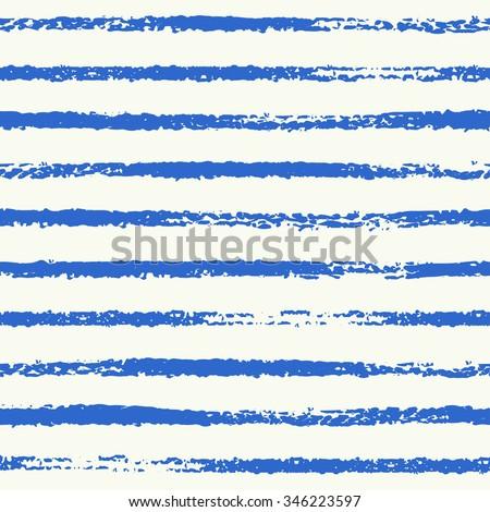 Striped seamless pattern. Grungy sketch illustration. Nautical sea background. Rough navy blue stripes on white background. - stock photo