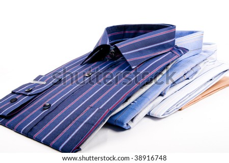 Striped shirts isolated on the white background - stock photo