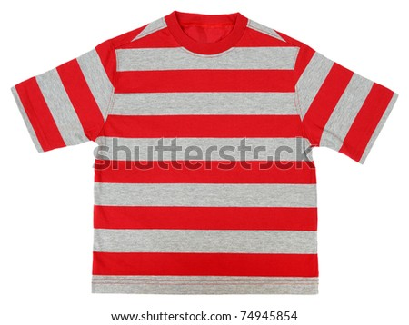 Striped T-shirt isolated on white background - stock photo