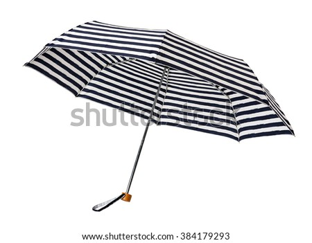Striped umbrella isolated on white background - stock photo