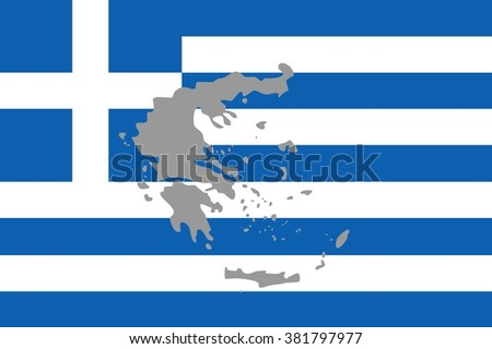 Striped white and blue flag of European country of Greece with map outline silhouette in grey color over it. - stock photo