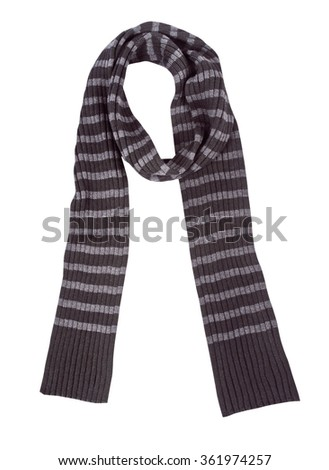 striped wool scarf isolated on white background - stock photo