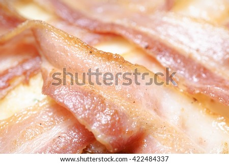 Strips of Bacon, Closed up, Selective focus, Texture / Pattern / Background - stock photo