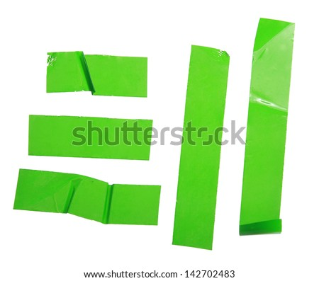 Strips of masking green tape isolated on white - stock photo