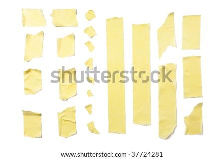 Strips of masking tape isolated on white background - stock photo