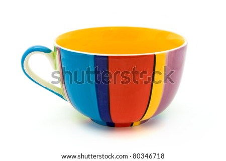 Stripy coffee cup isolated on a white background - stock photo