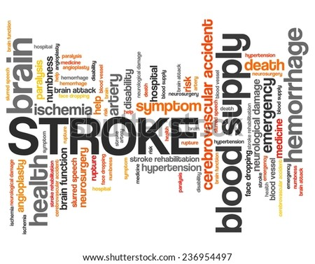 Stroke - health concepts word cloud illustration. Word collage concept. - stock photo