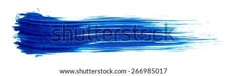 Stroke of blue paint isolated on white background - stock photo