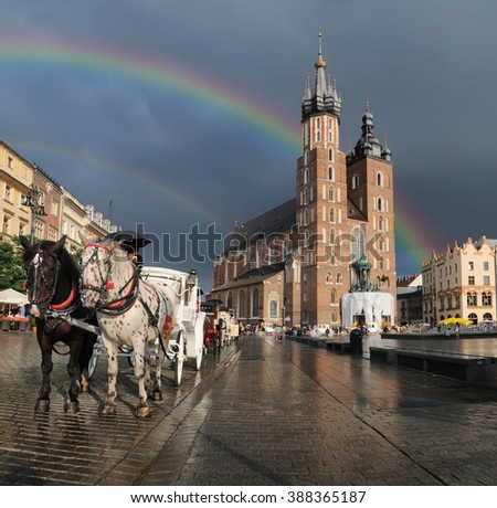 Stroll horse carriage on Main Market Square in Krakow, Poland - stock photo