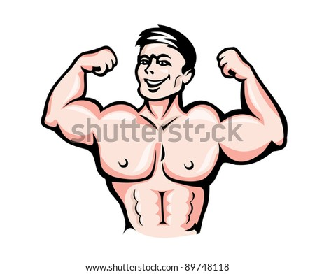 Strong athlete with muscles in cartoon style for sports design. Vector version also available in gallery - stock photo