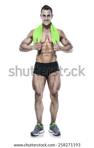Strong Athletic Man Fitness Model Torso showing six pack abs. holding towel isolated over white background - stock photo