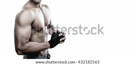 Strong Athletic Man Fitness Model Torso showing six pack abs.Isolate with copy space. - stock photo