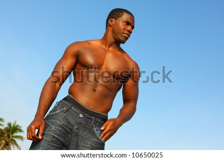 Strong Black Male - stock photo