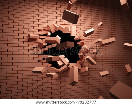 Strong blow on brick wall destroys it - stock photo