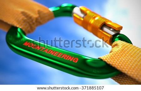 Strong Connection between Green Carabiner and Two Orange Ropes Symbolizing the Mountaineering. Selective Focus. 3d Render. - stock photo