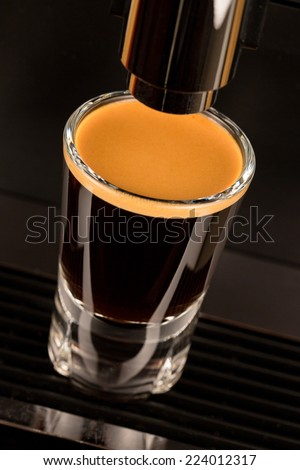 Strong double espresso coffee shot - stock photo
