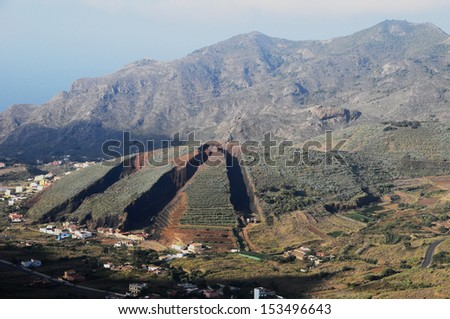 Strong Erosion on an Hill in Tenerife, Spain - stock photo