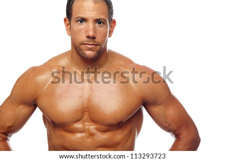 Strong fitness male on white - stock photo