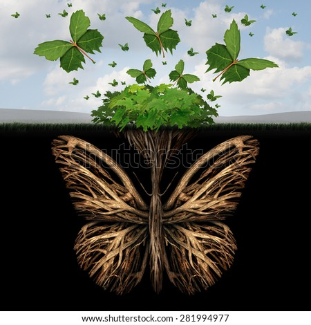 Strong foundation concept as the roots of a plant shaped as a butterfly and the leaves of a bush in the shape of flying butterflies as a creative base symbol and the power of freedom and imagination. - stock photo