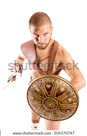 strong gladiator isolated in white background - stock photo