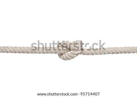 strong knot tied by a rope isolated on a white background - stock photo