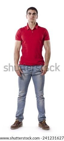Strong man posing isolated with casual clothes - stock photo