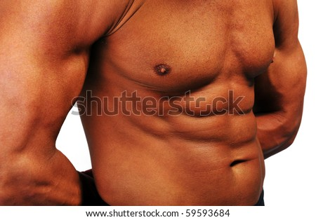 Strong man, stomach and chest musculature - stock photo
