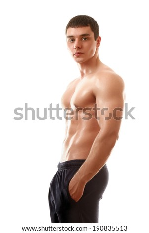 Strong man with a healthy body isolated over white - stock photo