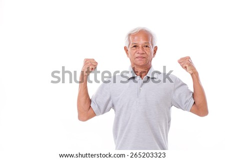 strong old man on white isolated background - stock photo