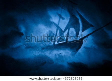 strong sea storm and the ship - stock photo