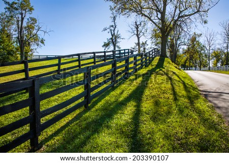 Strong Shadows Fall Forward Along A Backlit Fence Line And Country Lane During Autumn In Horse Country, Lexington Kentucky, USA - stock photo