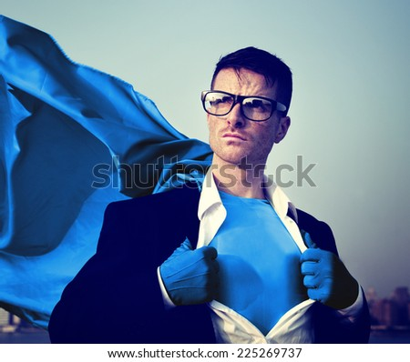 Strong Superhero Businessman Transforming Concepts - stock photo