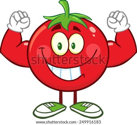 Strong Tomato Cartoon Mascot Character Flexing. Raster Illustration Isolated On White - stock photo