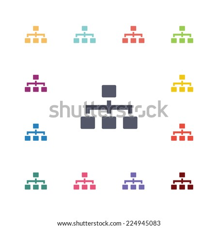 structure flat icons set. Open round colorful buttons.  - stock photo